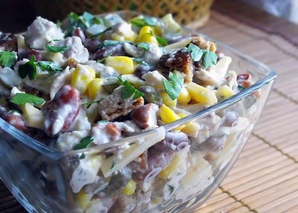 салат из фасоли и куриной грудки