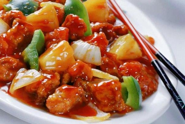 Курица с овощами в кисло-сладком соусе