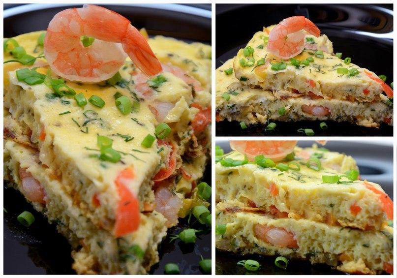 Омлет с овощами и креветками