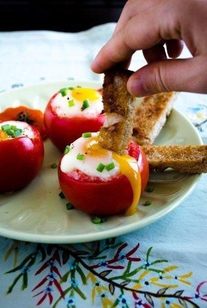 Яйца в помидорах - превосходный завтрак