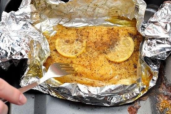 Минтай запеченный с лимоном на ужин