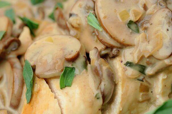 тушеная куриная грудка с грибами