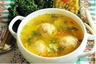 Суп с куриным фрикадельками