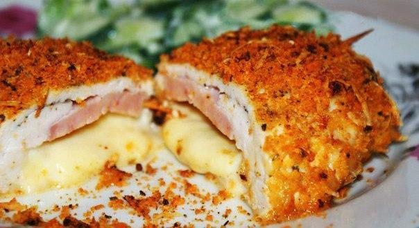 Шницель из куриной грудки Кордон блю