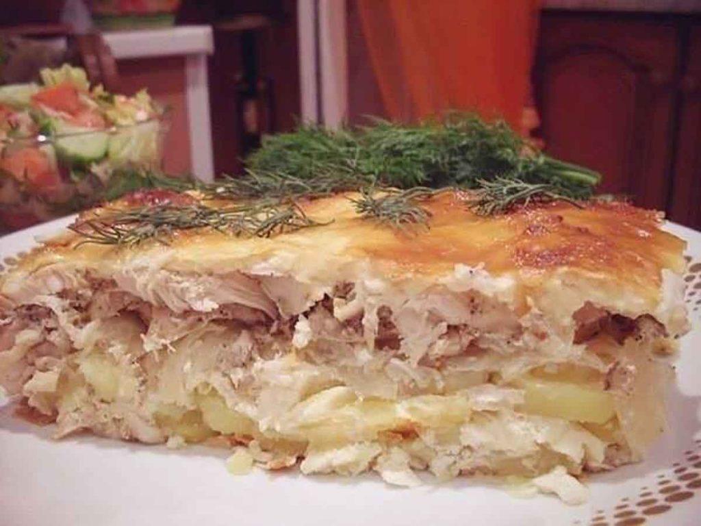 Картофельная запеканка с куриным филе в духовке рецепт пошагово