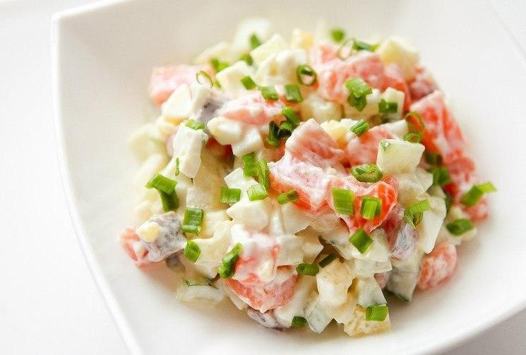 Диетический салат с семгой рецепт