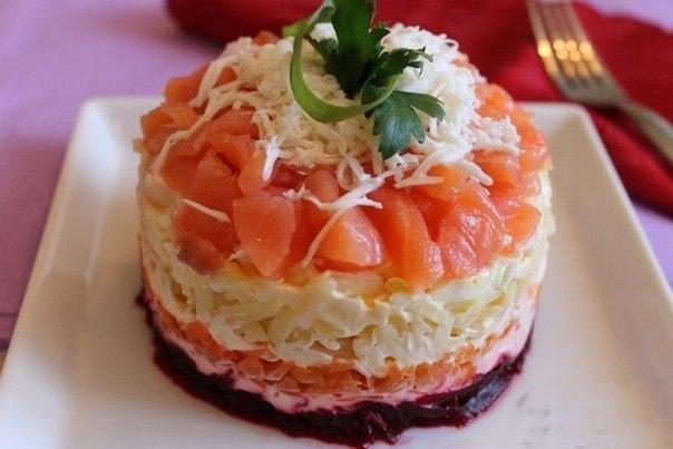Сёмга на шубке салат