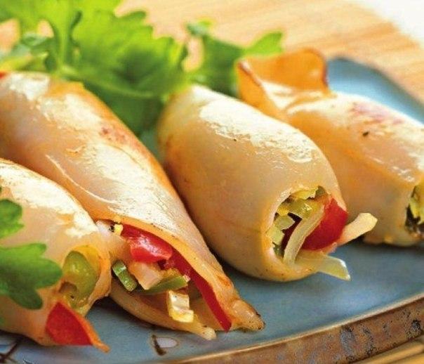 Кальмары с овощной начинкой