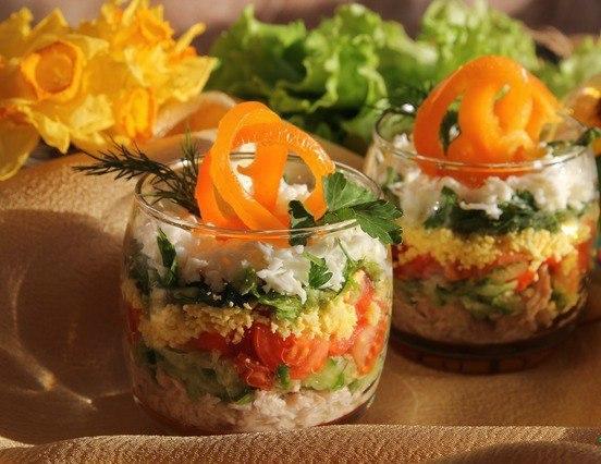 Простые салаты не слоеные рецепты 125