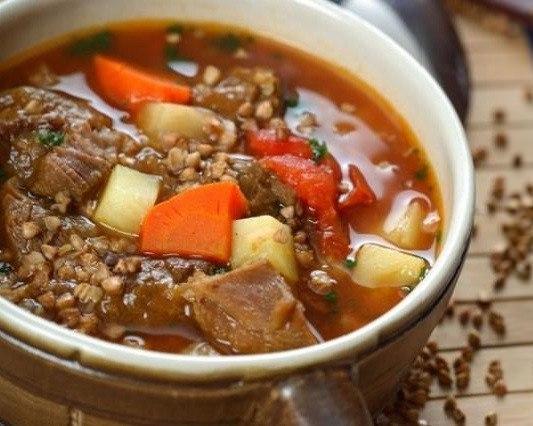 Невероятно вкусный гречневый суп с говядиной