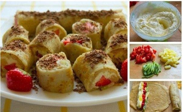 Сладкие блинные роллы с творожно-фруктовой начинкой